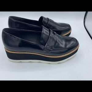 Bibi Lou Black White stacked Loafers Shoes size 9